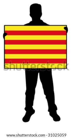 vector illustration of a man holding a flag of catalonia