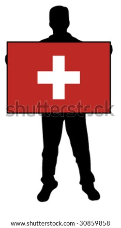 vector illustration of a  man holding a flag of switzerland - stock vector