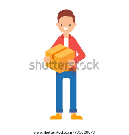 Vector illustration of a man holding a parcel