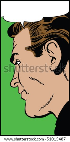 Vector illustration of a man in profile in a pop art/comic style
