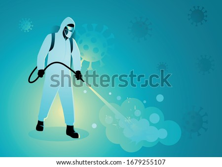 Vector illustration of a man in protective suit spraying disinfectant to cleaning and disinfect virus, Covid-19, Coronavirus, preventive measure