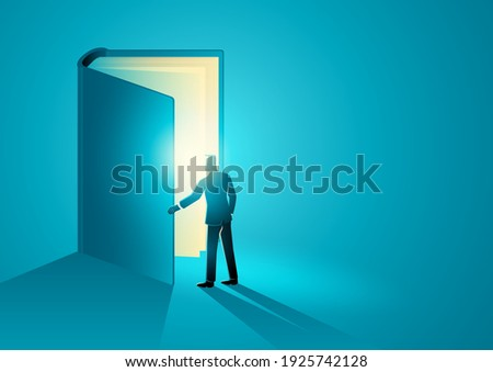 Vector illustration of a man opening a giant book, education, knowledge concept