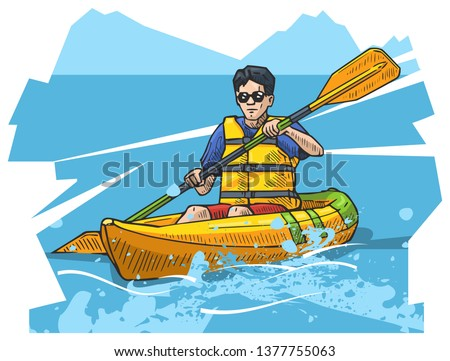 Vector illustration of a man rowing on canoe. Beautiful canoeing, kayaking poster. Water, sea or river sports