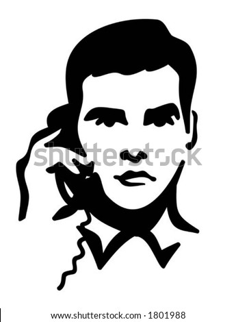 Vector Illustration of a Man speaking on the Telephone. You can easily change the color in this image the way you like