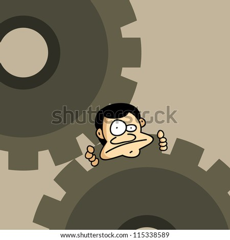 Vector illustration of a man stuck on a pair of mechanical gears.