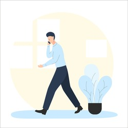 Vector illustration of a man walking and talking by the phone in the room. It represents a concept of remote work, telework, freelancing, quarantine and staying at home