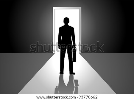 Vector illustration of a man walking into a bright side