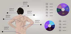 Vector illustration of a man with a back pain schedule and statistics