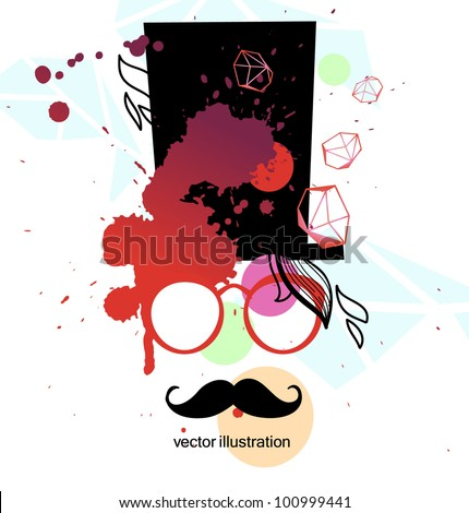 vector illustration of a man with black mustache in red glasses and old-fashioned hat
