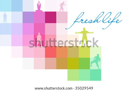 vector illustration of a man with open arms with rainbow background