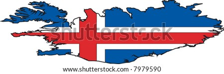 Vector Illustration of a Map and Flag from Iceland