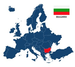Vector illustration of a map of Europe with highlighted Bulgaria and Bulgarian flag isolated on a white background