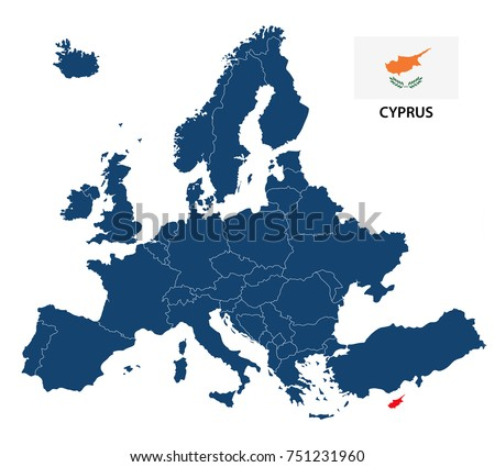 Vector illustration of a map of Europe with highlighted Cyprus and Cypriot flag isolated on a white background