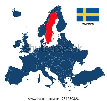 Sweden Map And Flag Free Vector Download Free Vector Art Stock - Sweden european map