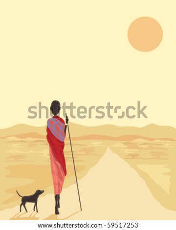vector illustration of a masai man with his dog walking along a road in africa under the setting sun