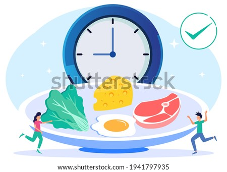 Vector illustration of a meal schedule for balancing daily meals. Hunger is a constant period of time as a healthy habit of the digestive system. Symbolic wall clock with lunch plate.