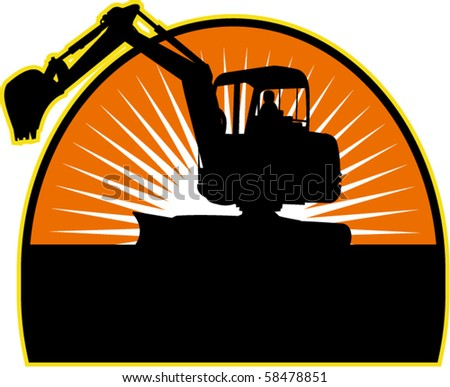vector illustration of a Mechanical Digger with sunburst in background