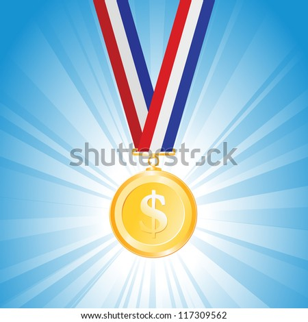 Vector illustration of a medal with golden dollar coin.
