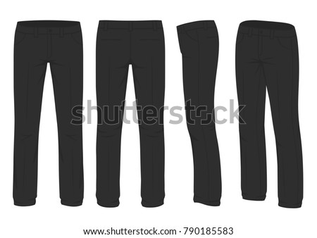vector illustration of a men fashion, suit uniform, back side view of pants