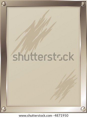 Vector illustration of a metal frame with screws