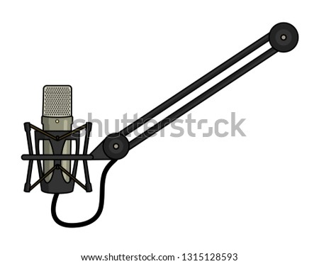 Vector illustration of a microphone mounted on a boom arm.