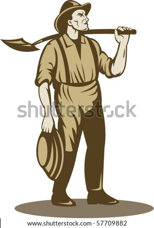 vector illustration of a Miner, prospector or gold digger with shovel standing front isolated on white