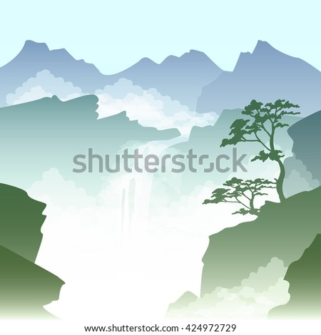 vector illustration of a misty