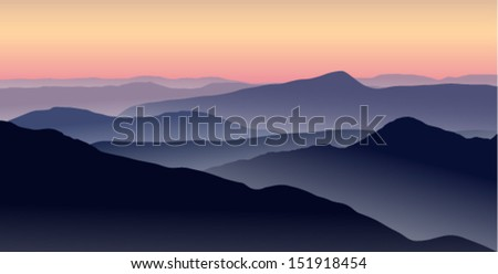 stock-vector-vector-illustration-of-a-misty-sunrise-in-the-blue-mountains