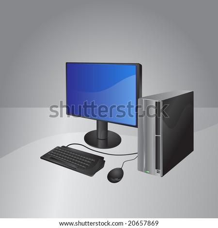 Vector Illustration of A modern computer: LCD Display, computer box ...