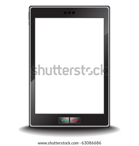 Vector - Illustration of a modern generic cell or mobile phone with a blank screen