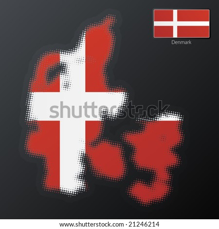 Vector illustration of a modern halftone design element in the shape of Denmark, European Union. Second halftone, border and contents, on separate layer. Additional flag included.