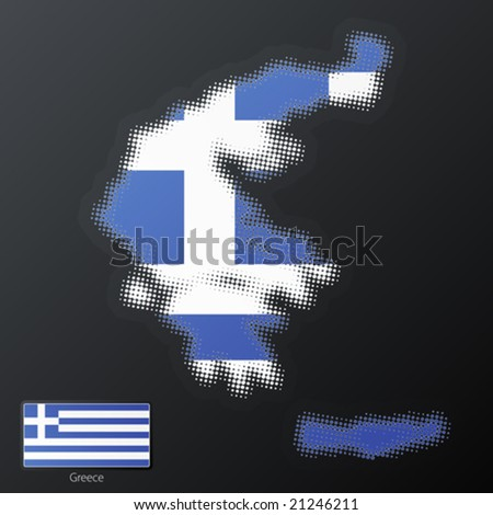 Vector illustration of a modern halftone design element in the shape of Greece, European Union. Second halftone, border and contents, on separate layer. Additional flag included.