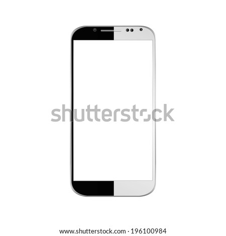 vector illustration of a modern phone halved