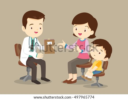 Vector illustration of a mom and son in doctor's office.Mother and a little son visiting the doctor. The pediatrician exams baby's mouth.