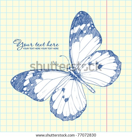Vector illustration of a monarch butterfly in a writing-book. Vector illustrator. Hand-draw.