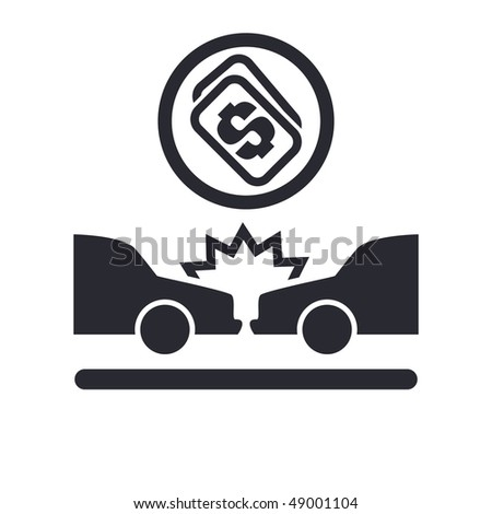 "Vector illustration of a ""money"", ""pay"" or ""buy"" icon in modern style depicting a car accident"