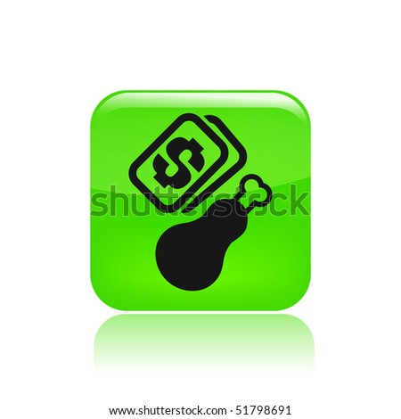 """Vector illustration of a """"money"""", """"pay"""" or """"buy"""" icon in modern style depicting a chicken"""