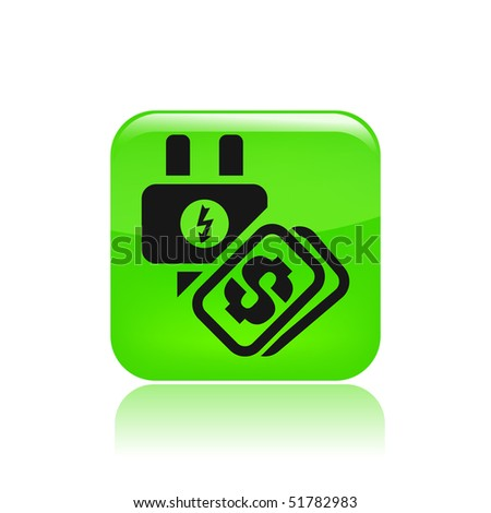 """Vector illustration of a """"money"""", """"pay"""" or """"buy"""" icon in modern style depicting a energy cost"""