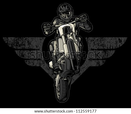 Vector illustration of a motocross racer doing a wheelie while riding in front of a pair of bold wings distressed with a grunge and paint splatter texture mix.