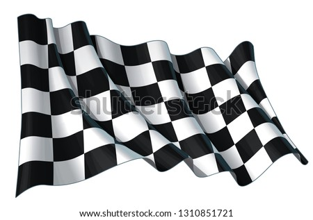 Vector illustration of a motor race waving finish checkers flag. All element neatly on well-defined layers and groups.  Stock photo ©