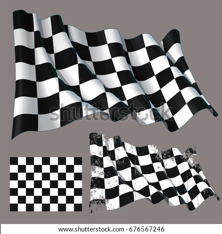 Vector illustration of a motor race waving finish checkers flag. Each element on a separate layer with well-defined groups and subgroups. Easy to edit colors via Global Color