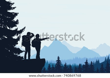 Vector illustration of a mountain landscape with a forest and two tourists, man and woman with backpacks showing his hand and looking into the distance under a blue sky
