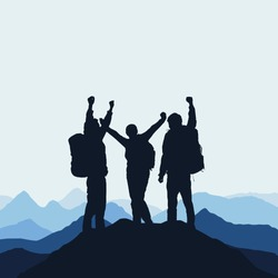 Vector illustration of a mountain landscape with realistic silhouettes of three mountain climbers on the top of a mountain with victorious gesture under an blue sky with fog