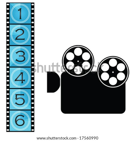 Vector illustration of a movie film strip with countdown and movie