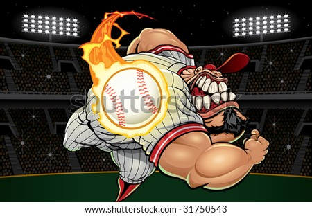 Vector illustration of a muscular baseball player pitching a flaming fastball toward camera with baseball field arena background.