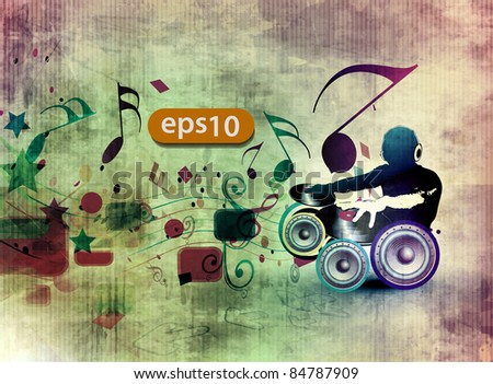 vector illustration of a music dj playing music design.