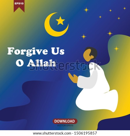 vector illustration of a Muslim man wearing a robe and asking God for forgiveness for all his sins and mistakes