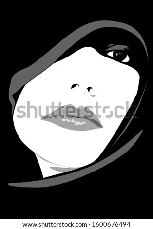 Vector illustration of a mysterious woman
