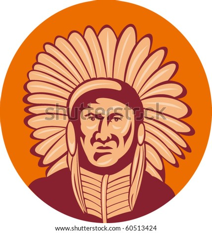 vector illustration of a native american indian chief facing front view.