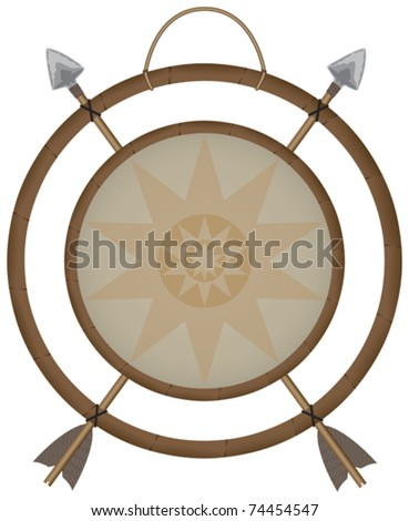 Vector illustration of a Native American Indian Mandala with arrows and star pattern